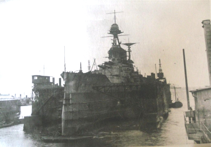 HMS Malaya in the Floating Dock at Invergordon after Jutland