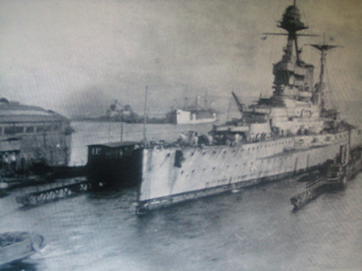 HMS Malaya in the Floating Dock