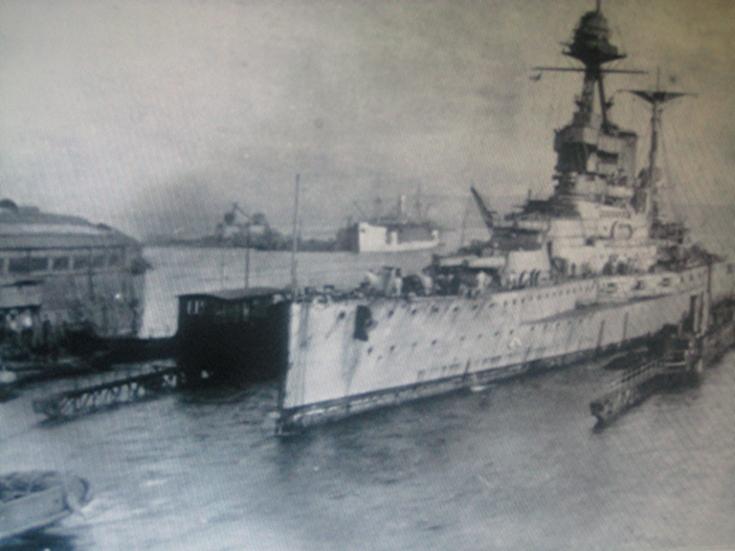 HMS Malaya in the Floating Dock