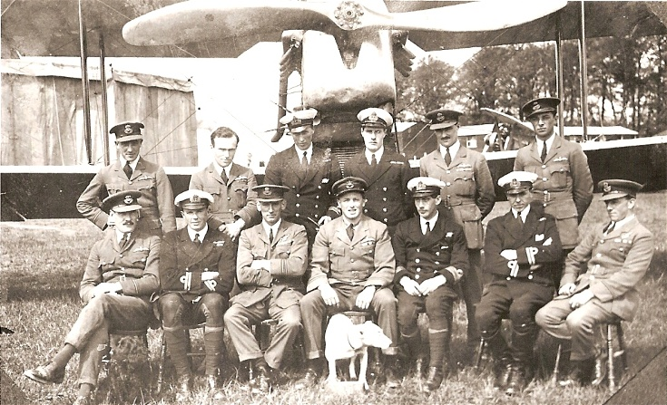 RAF and RN Officers in front of a Walrus aircraft