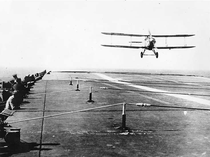 A Fairey 3F landing on HMS Furious