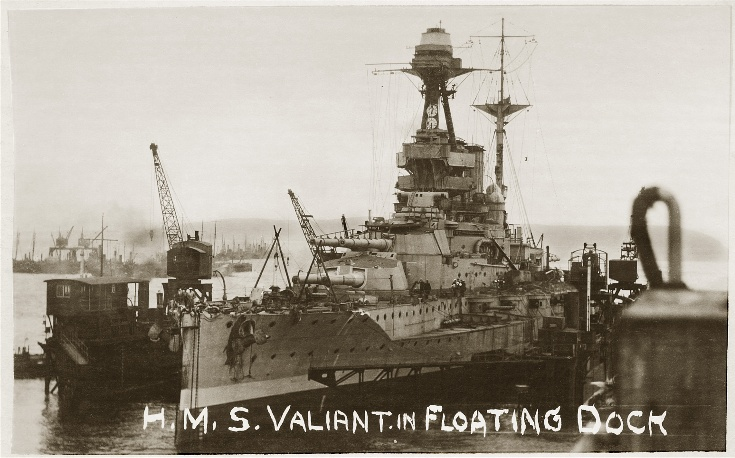 H.M.S. Valiant in the Floating Dock at Invergordon