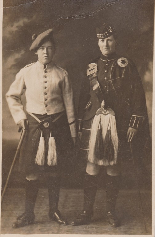 Two girls in Highland dress