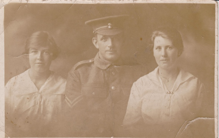 Soldier and two girls