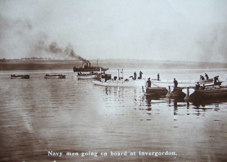 Navy men going on board at Invergordon