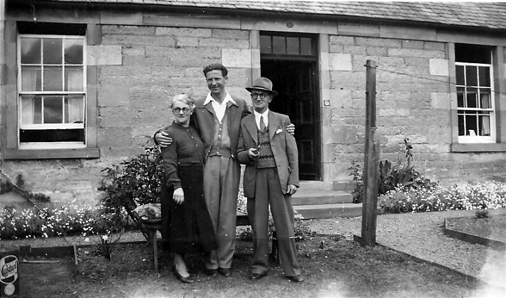 Grandad, Peter(?) and Grandma at Ness Cottage, May 1952