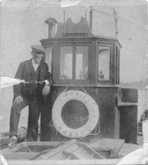 George Bailey aboard Muriel NAAFI Supply Boat