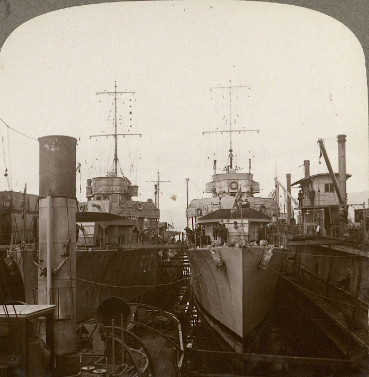 Ships in the floating dock at Invergordon