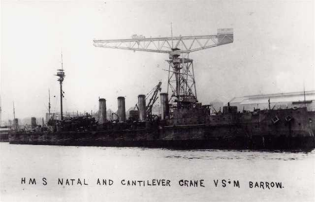 HMS Natal and Cantilever crane at Barrow.