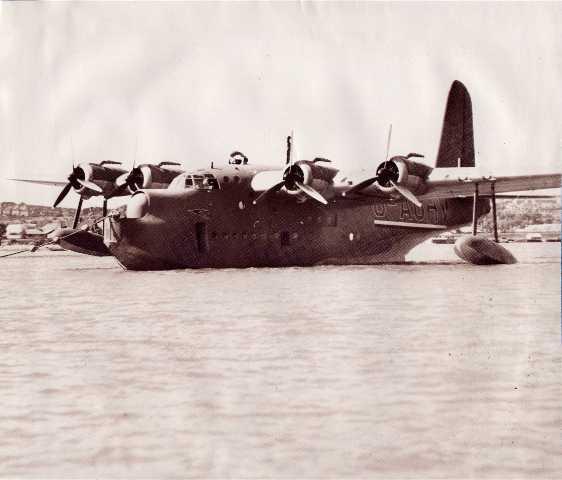 A Sunderland flying boat at its mooring.