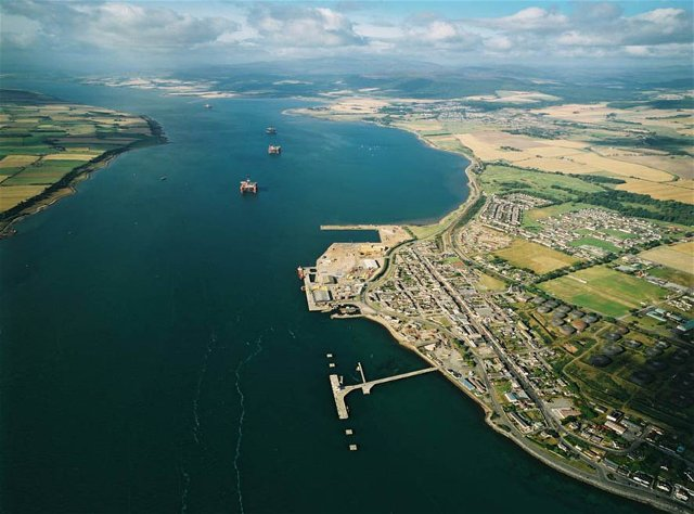 Aerial view of Invergordon and Firth looking west