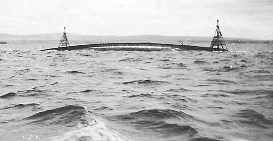 The upturned hull of HMS Natal - c1916